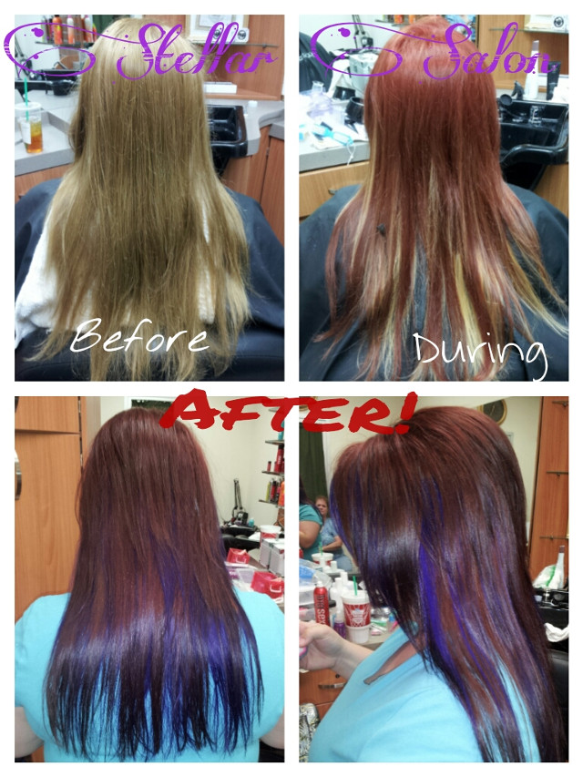Fun I had last night! Took my Client 4 levels darker, filled and prelightened, then deposited a gorgeous Pravana chocolate brown with pops of Vivids Violet! And gave her a fun new cut!