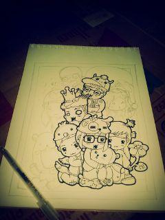 cute colorful emotions love pencil art