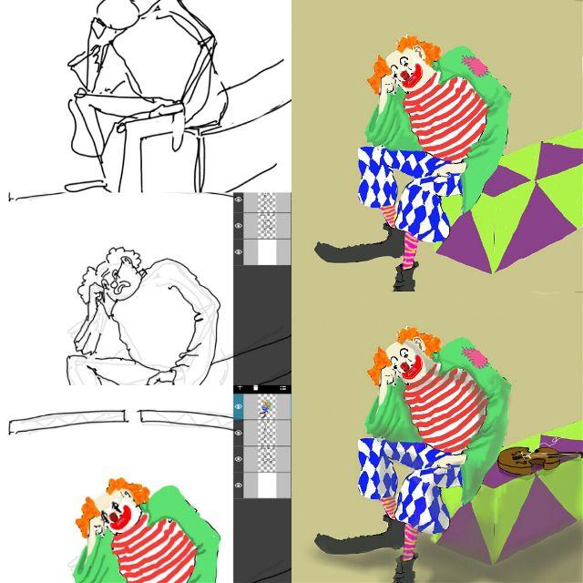 clown drawing steps