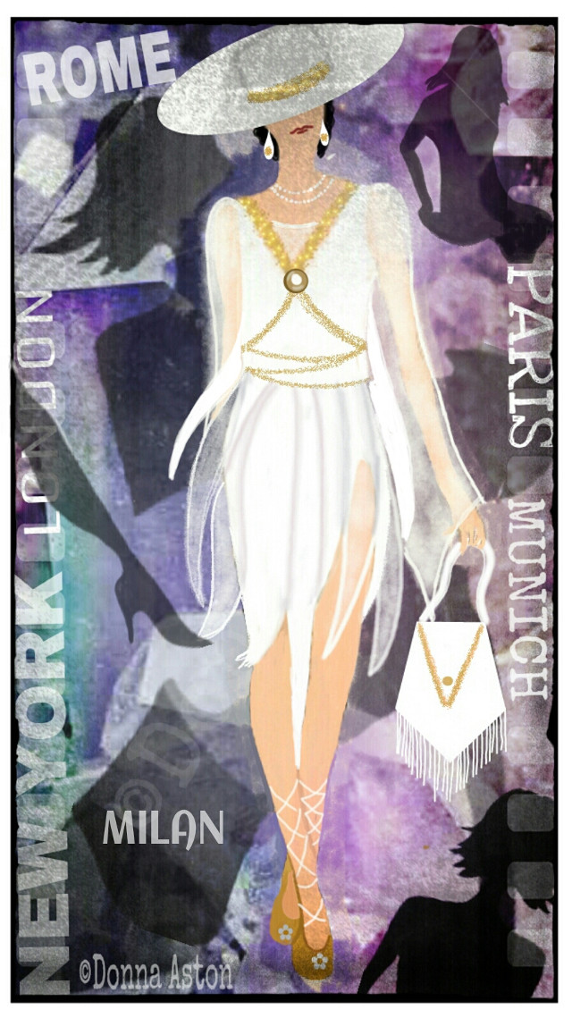 """#dcfashionsketch, Top Ten - 2nd Place A modern take on ancient Greece fashion.  Drawn and Painted in PicsArt on a 4"""" screen smartphone. #dcfashionsketch #drawing #art #fashion"""