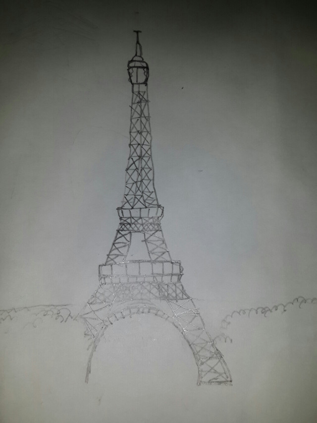 As you can see I drew the Eiffel Tower first on paper, because I don't have a tablet and is hard to draw with the finger.  Then, based on this capture, I drew the lines in PicsArt and from there everything else was painted in the drawing section. I have all the copyrights of my humble creations. Thank you!