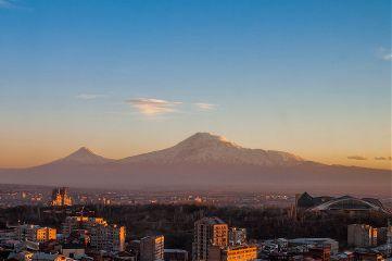 ararat mountain yerevan armenia sunset