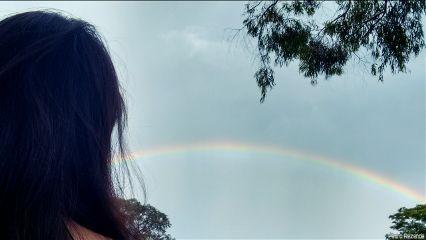 people girl rainbow nature sky